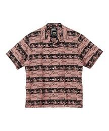 SONIC YOUTH/UG PATTERN柄 オープンカラーシャツピンク