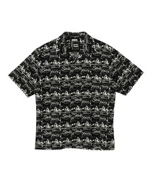SONIC YOUTH/UG PATTERN柄 オープンカラーシャツブラック