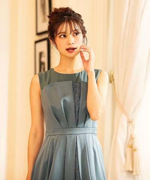 2way巻きスカート付きレース切り替え 結婚式ワンピース パーティードレス / ミントグリーン