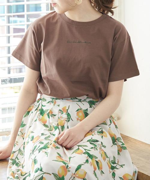 ROPE' PICNIC(ロペピクニック)の「オーガビッツ刺繍Tシャツ(Tシャツ/カットソー)」 ダークブラウン
