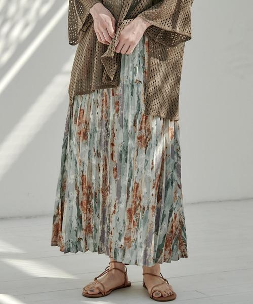 【EMMA】ジョーゼット水彩柄プリントプリーツスカート