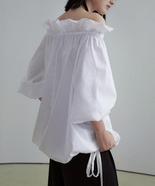 【UNSPOKEN】Off-shoulder volume blouse UX20S009chw