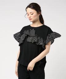 RAY CASSIN FAVORI(レイカズンフェバリ)の・RAYCASSIN 異素材ラッフル切替Tシャツ(Tシャツ/カットソー)