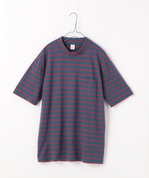 WEB限定 Healthknit/ヘルスニット ボーダーモックネック半袖Tシャツ