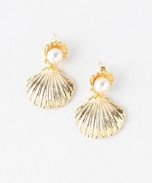 <RELIQUIA>SHELL&PEARLモチーフピアス/GOLD FILLED