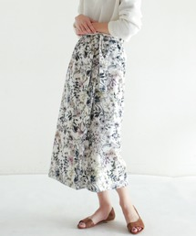 NOMBRE IMPAIR(ノンブルアンペール)の【Fabric in Italy】グレイッシュフラワー エプロンスカート(スカート)