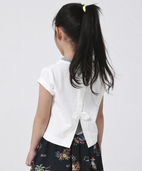【2セットアイテム・coen キッズ / ジュニア】バックリボンTシャツ×テレコタンクトップ