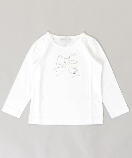 agnes b.(アニエスベー)の「SCJ6 E TS キッズ リボンプリントTシャツ(Tシャツ/カットソー)」|ホワイト系その他