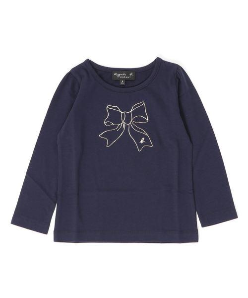 agnes b.(アニエスベー)の「SCJ6 E TS キッズ リボンプリントTシャツ(Tシャツ/カットソー)」|ブルー系その他