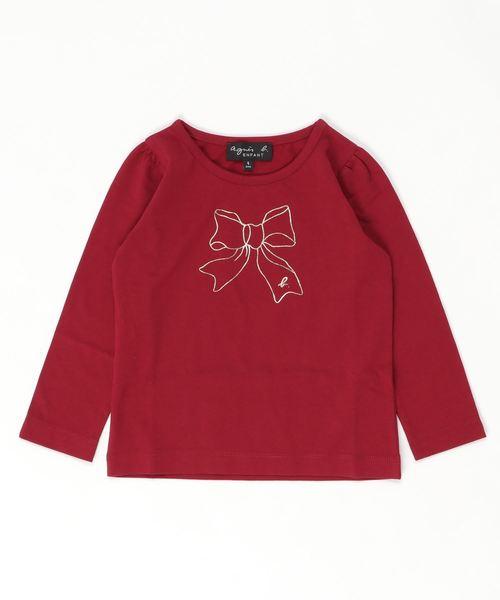 agnes b.(アニエスベー)の「SCJ6 E TS キッズ リボンプリントTシャツ(Tシャツ/カットソー)」|レッド系その他