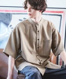 TRストレッチ オーバーボックス ビッグシルエット バンドカラーシャツ(1/2 sleeve)ベージュ系その他