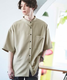 TRストレッチ オーバーボックス ビッグシルエット バンドカラーシャツ(1/2 sleeve)グリーン系その他