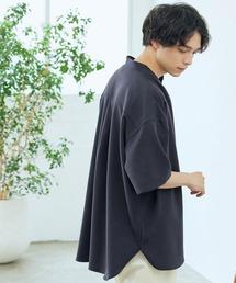 TRストレッチ オーバーボックス ビッグシルエット バンドカラーシャツ(1/2 sleeve)ネイビー