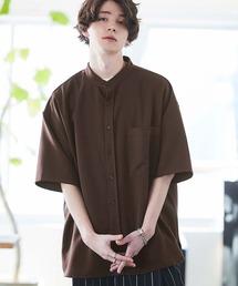 TRストレッチ オーバーボックス ビッグシルエット バンドカラーシャツ(1/2 sleeve)ブラウン