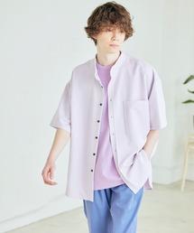 TRストレッチ オーバーボックス ビッグシルエット バンドカラーシャツ(1/2 sleeve)ライラック