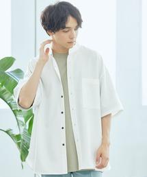 TRストレッチ オーバーボックス ビッグシルエット バンドカラーシャツ(1/2 sleeve)オフホワイト