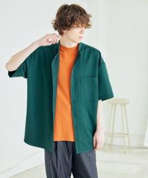 TRストレッチ オーバーボックス ビッグシルエット バンドカラーシャツ(1/2 sleeve)グリーン