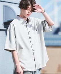 TRストレッチ オーバーボックス ビッグシルエット バンドカラーシャツ(1/2 sleeve)ライトグレー