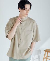 TRストレッチ オーバーボックス ビッグシルエット バンドカラーシャツ(1/2 sleeve)ベージュ系その他4