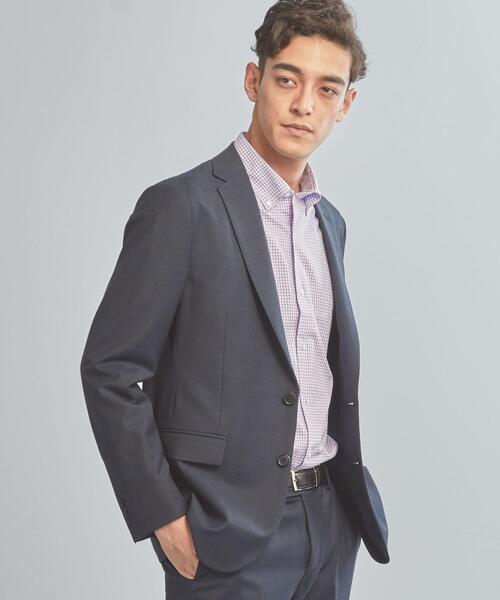 <機能/洗濯機洗い可・防シワ・ストレッチ> WTO TW/PU メッシュ スリム スーツ ジャケット