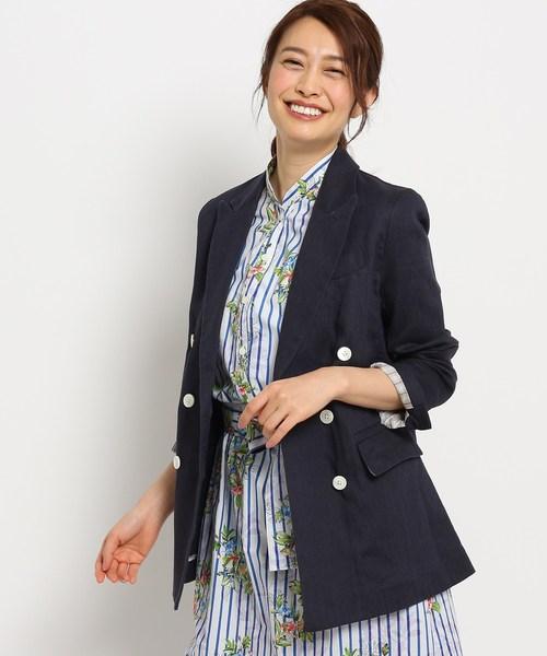 【洗える】麻ダブルテーラードジャケット