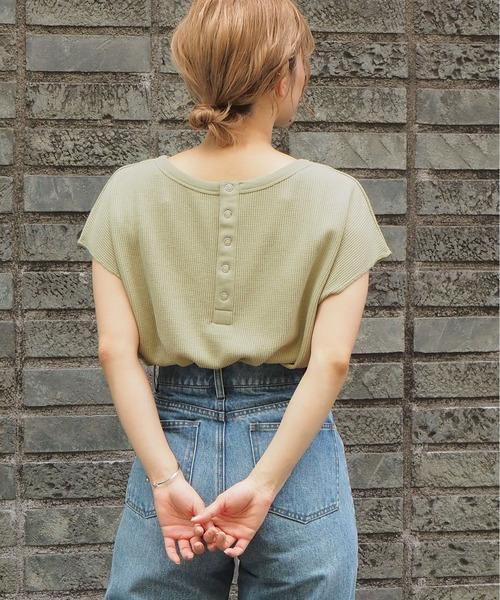 tiptop(ティップトップ)の「ワッフルラウンドヘムプルオーバー(Tシャツ/カットソー)」|グリーン