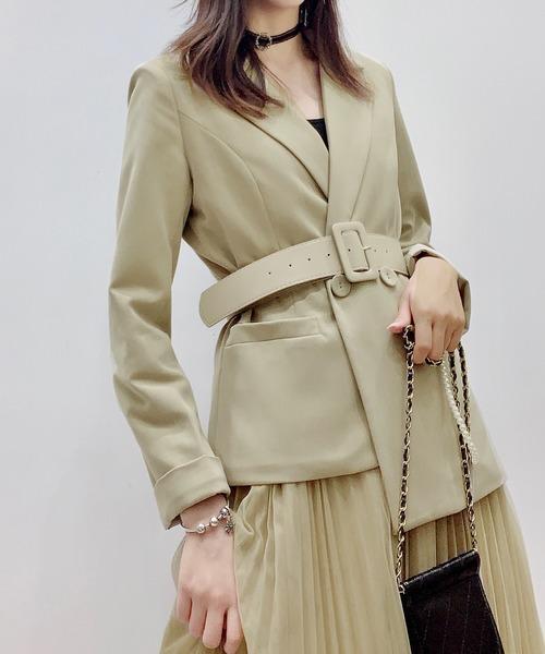 DAY CLOSET(デイ クローゼット)の「レディース テーラードジャケット+ベルト+透け感チュールプリーツスカート 3点セット(テーラードジャケット)」|詳細画像