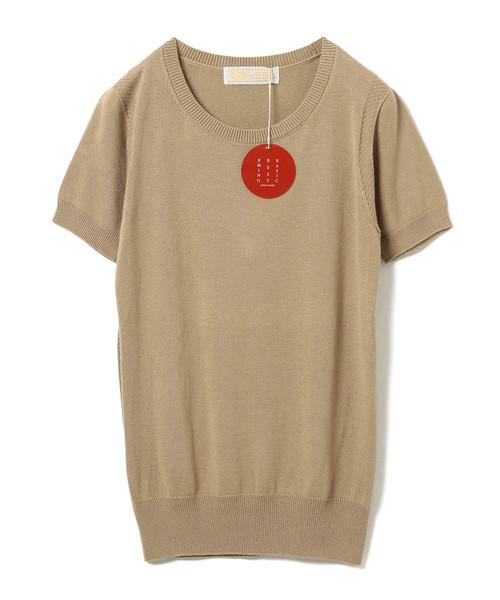 "B:MING by BEAMS(ビーミングバイビームス)の「B:MING by BEAMS / ""BBB"" ハイゲージ クルーネック 半袖Tシャツ(ニット/セーター)」|ベージュ"