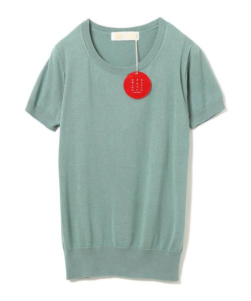 "B:MING by BEAMS(ビーミングバイビームス)の「B:MING by BEAMS / ""BBB"" ハイゲージ クルーネック 半袖Tシャツ(ニット/セーター)」|グリーン系その他"