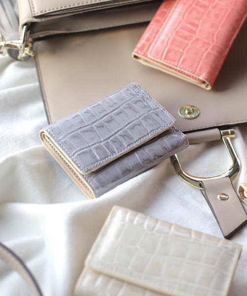 ANEMONE(アネモネ)の「三つ折りレザーミニ財布(財布)」|パープル