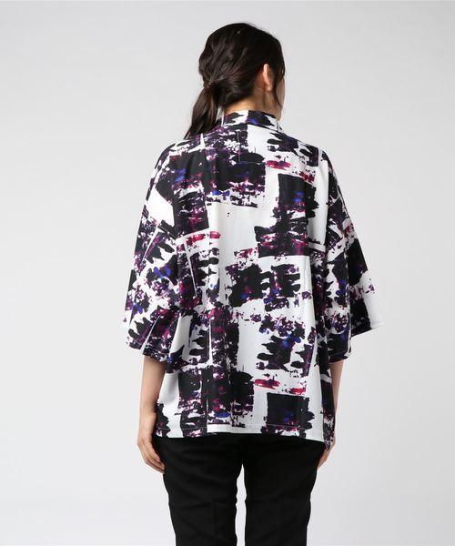 ペイント柄アロハシャツ 総柄開襟シャツ