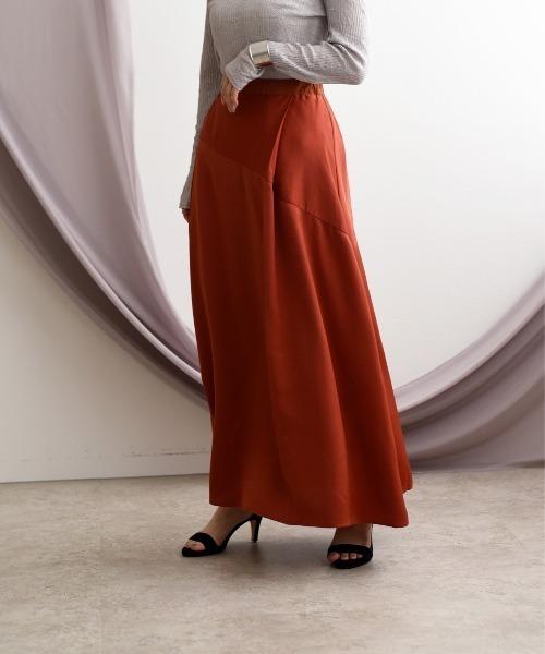 ドレープサテンセミフレアロングスカート