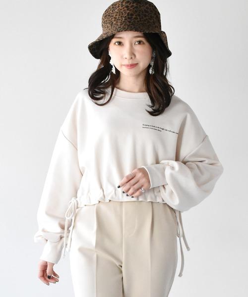 裾シャーリングロゴトレーナー