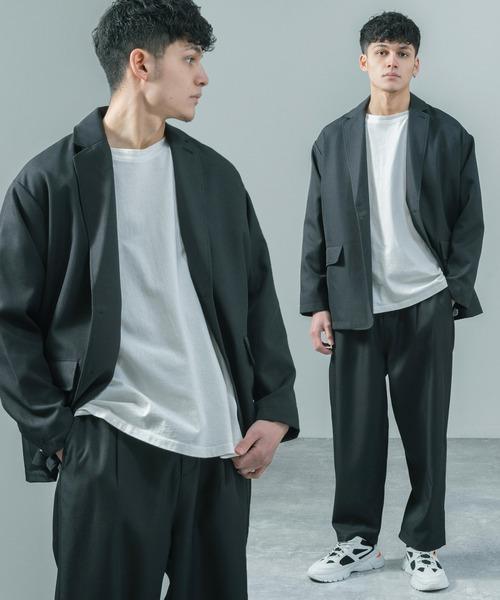 【セットアップ】スタプレポリツイル オーバーサイズシングルテーラードジャケット&タックイージーバルーンワイドパンツ