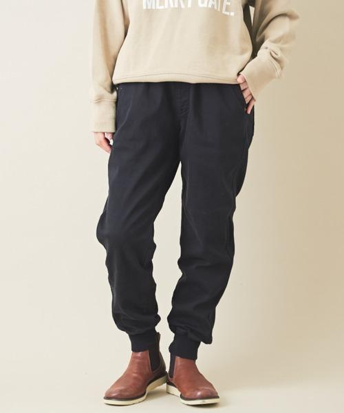 CUBE SUGAR(キューブシュガー)の「裏起毛 ストレッチツイル ジョガーパンツ(パンツ)」|ブラック