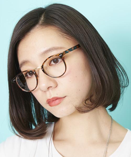 Atelier mimi(アトリエ ミミ)の「コンビネーションフレームメガネ 眼鏡 伊達眼鏡 だてメガネボストンメガネ(メガネ)」|ブラウン