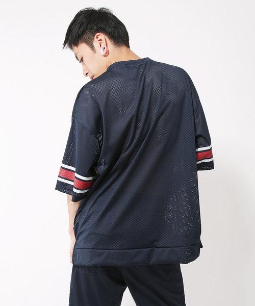 メッシュラインプリント5分袖Tシャツ