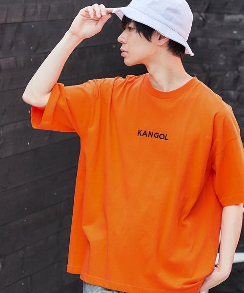 ▽WEB限定 MONO-MART×KANGOL 別注ロゴ刺繍 プリント半袖 BIG Tee ビッグシルエットカットソー