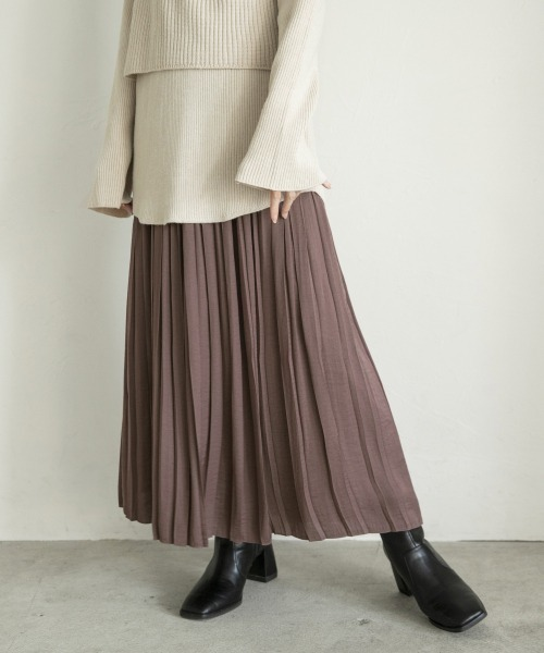 LOWRYS FARM(ローリーズファーム)の「サテンプリーツスカート 863178(スカート)」|パープル