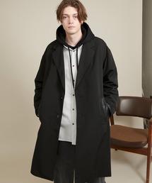 オーバーサイズ チェスターコート/ソフトレザー切替【ファッションインフルエンサーとっしー×EMMA CLOTHES】ブラック