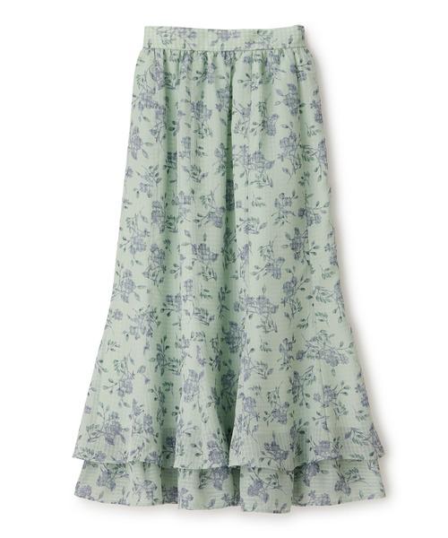 【美人百花 舞川あいくさん着用】シアーチェックフラワー2ダンマーメイドスカート