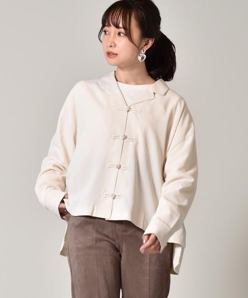 チャイナ釦開襟シャツ