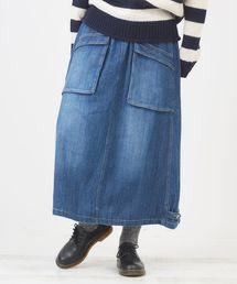 CUBE SUGAR(キューブシュガー)のWEB限定 ネップデニムマキシスカート(デニムスカート)