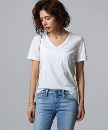 JET(ジェット)の【洗える】コットンVネックTシャツ(Tシャツ/カットソー)