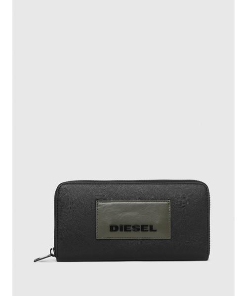 DIESEL(ディーゼル)の「メンズ ブランディングパッチ レザー ラウンドファスナー長財布(財布)」|ブラック