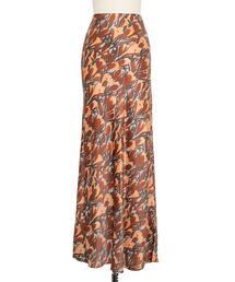 Drawer シルクフラワープリントロングスカート