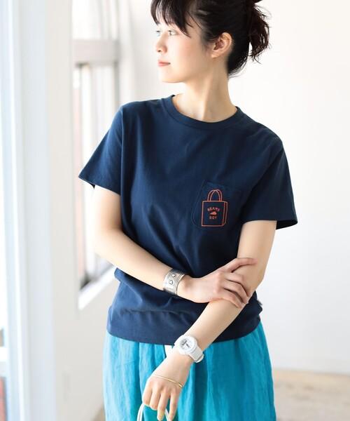 BEAMS BOY / ショップバッグロゴ ポケット ショートスリーブ Tシャツ