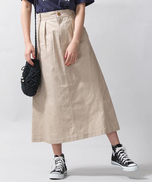 WEGO(ウィゴー)の「WEGO/ツイルロングスカート(スカート)」|ベージュ