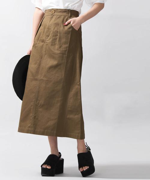 WEGO(ウィゴー)の「WEGO/ツイルロングスカート(スカート)」|カーキ