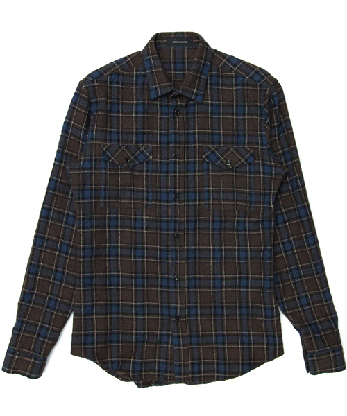 REFINE COTTON WOOL CHECK MILITARY SHIRT L/S
